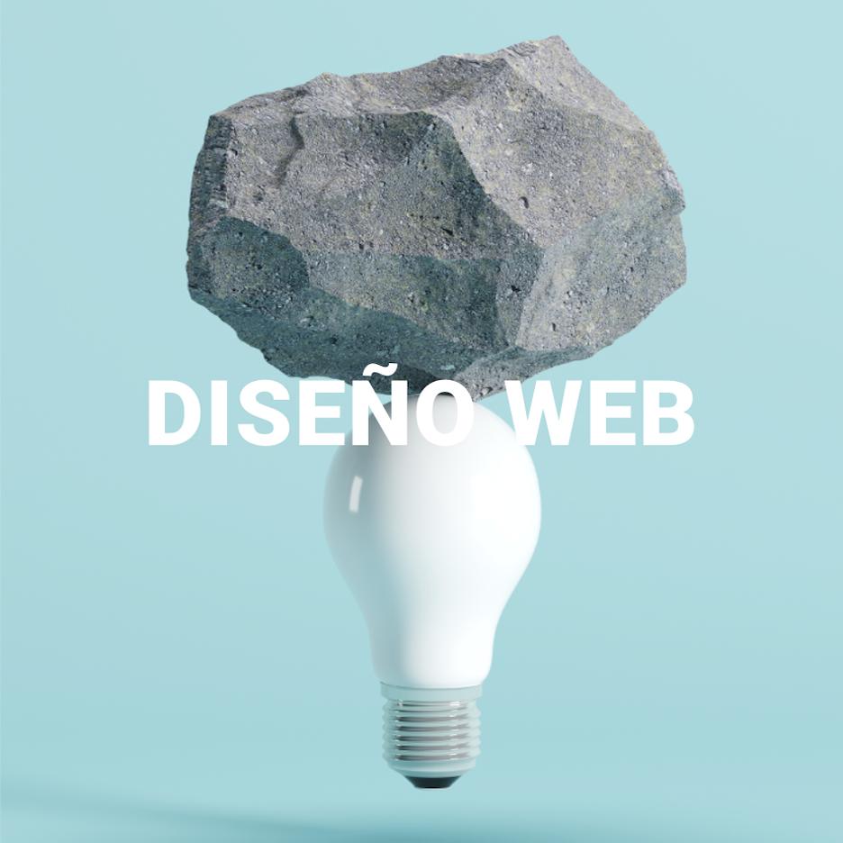 Bombilla con una piedra encima que simboliza la creatividad y el diseño web